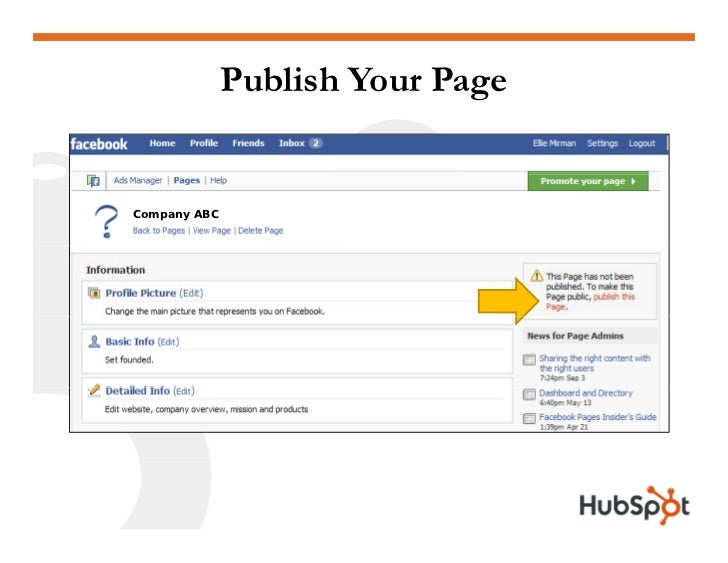 Publish Your Page   Company ABC