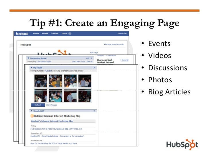 Tip #1: Create an Engaging Page                        •   Events                        •   Videos                       ...
