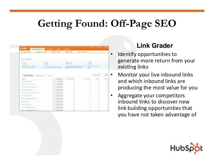 Getting Found: Off-Page SEO                          Link Grader               • Identifyopportunitiesto               ...