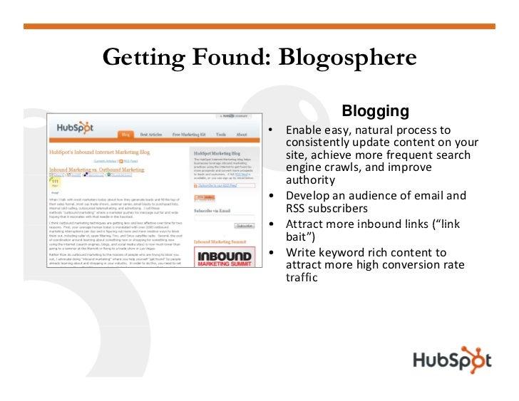 Getting Found: Blogosphere                           Blogging              • Enableeasy,naturalprocessto             ...
