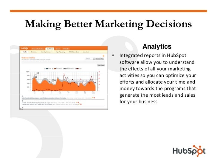 Making Better Marketing Decisions                                Analytics                  •   IntegratedreportsinHubS...