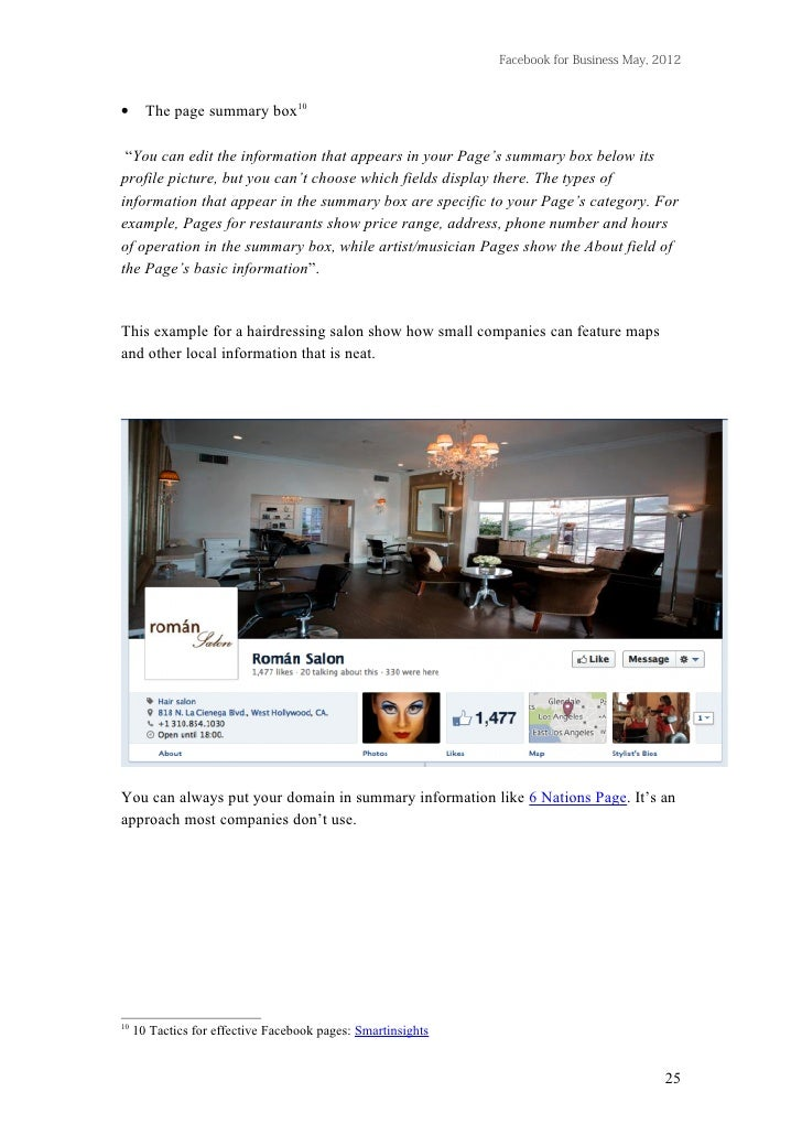 """Facebook for Business May, 2012•      The page summary box10 """"You can edit the information that appears in your Page's sum..."""