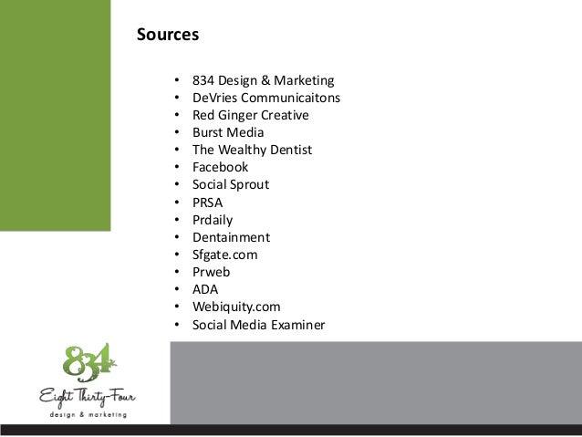 Sources• 834 Design & Marketing• DeVries Communicaitons• Red Ginger Creative• Burst Media• The Wealthy Dentist• Facebook• ...