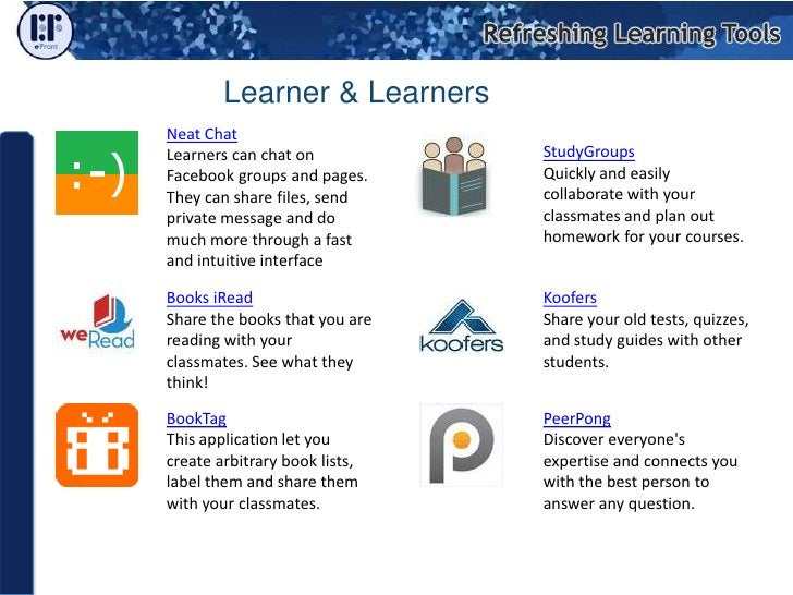 Facebook could be used in the learning process! We can not create an e-Learning course in Facebook However, we can use Fac...