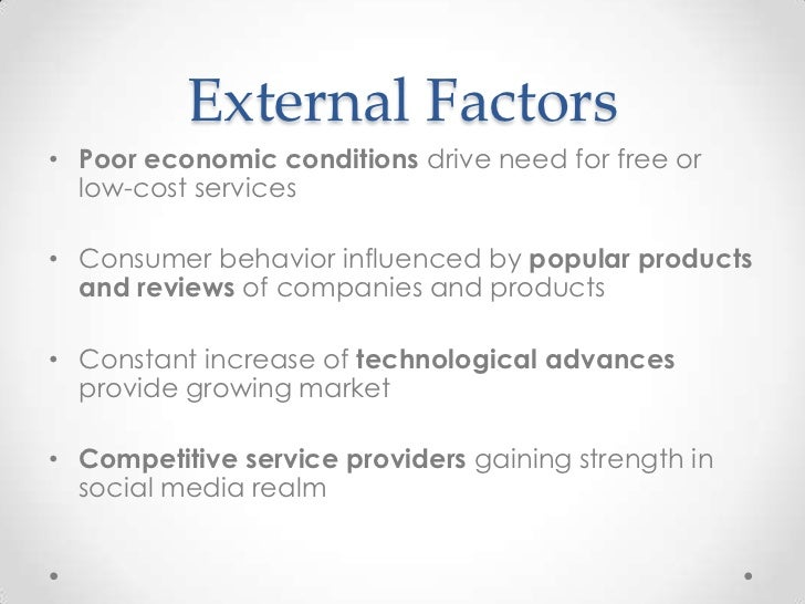 4 external factors Businesses are impacted by a number of factors, some internal and some external while managers may not be able to control external forces, it is.