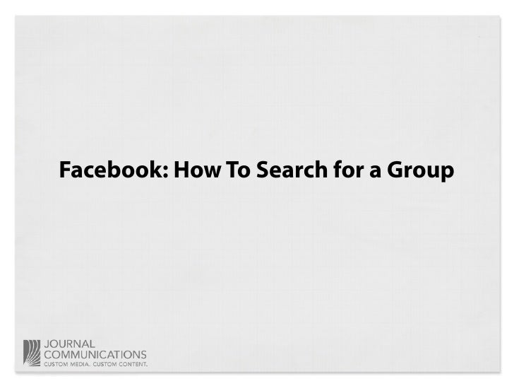 Facebook: How To Search for a Group