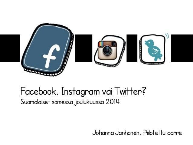 Facebook, Instagram vai Twitter? Suomalaiset somessa joulukuussa 2014 Johanna Janhonen, Piilotettu aarre