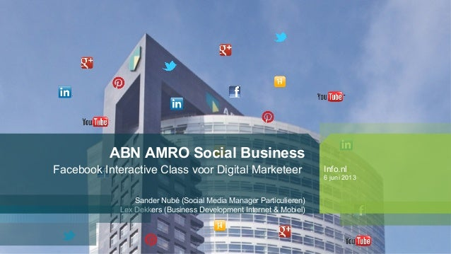 ABN AMRO Social BusinessFacebook Interactive Class voor Digital MarketeerSander Nubé (Social Media Manager Particulieren)L...