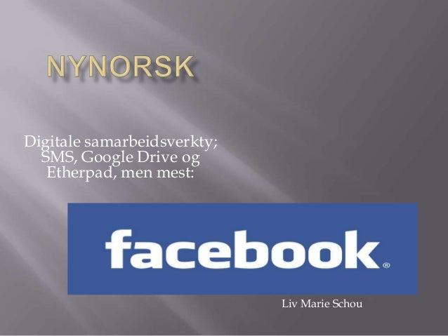 Digitale samarbeidsverkty; SMS, Google Drive og Etherpad, men mest: Liv Marie Schou