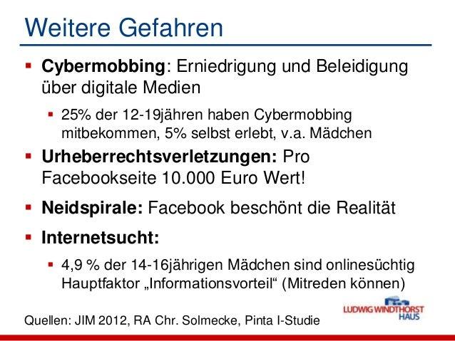 Weitere Gefahren Cybermobbing: Erniedrigung und Beleidigungüber digitale Medien 25% der 12-19jähren haben Cybermobbingmi...