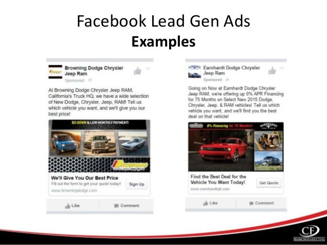 Facebook Lead Generation Ads For Car Dealers