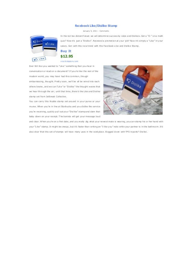 Facebook Like Dislike Stamps Amazon StampJanuary 9 2011