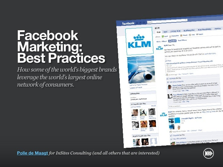 Facebook                       Marketing:                       Best Practices                       How some of the world...