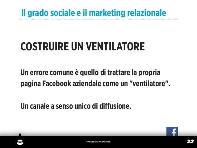 Il grado sociale e il marketing relazionaleCOSTRUIRE UN VENTILATOREUn errore comune è quello di trattare la propriapagina ...