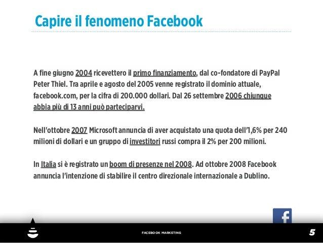 Capire il fenomeno FacebookA fine giugno 2004 ricevettero il primo finanziamento, dal co-fondatore di PayPalPeter Thiel. Tra...