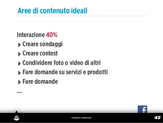 Aree di contenuto idealiInterazione 40%‣ Creare sondaggi‣ Creare contest‣ Condividere foto o video di altri‣ Fare domande ...