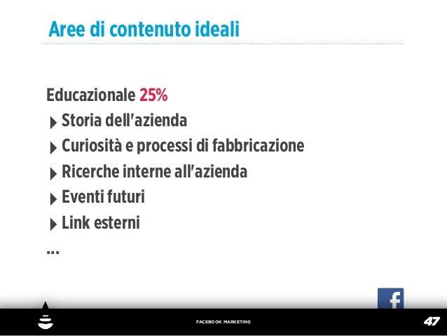 Aree di contenuto idealiEducazionale 25%‣ Storia dellazienda‣ Curiosità e processi di fabbricazione‣ Ricerche interne alla...
