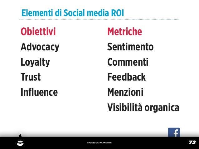 Elementi di Social media ROIObiettivi                       MetricheAdvocacy                        SentimentoLoyalty     ...