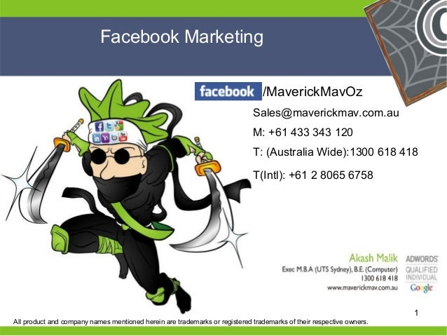 Facebook Marketing                                                                               /MaverickMavOz           ...