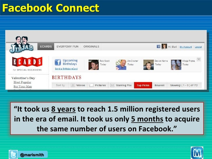 """@marismith """" It took us  8 years  to reach 1.5 million registered users in the era of email. It took us only  5 months  to..."""