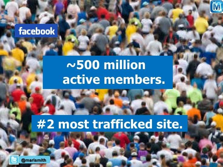 <ul><li>~500 million  active members. </li></ul>#2 most trafficked site. @marismith