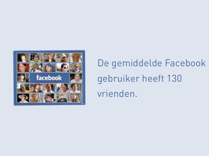 De gemiddelde Facebookgebruiker heeft 130vrienden.