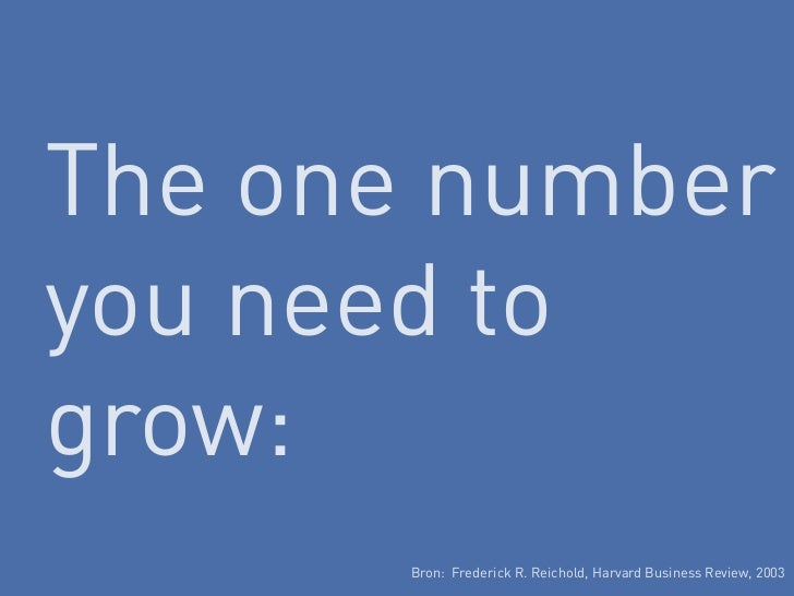 The one numberyou need togrow:       Bron: Frederick R. Reichold, Harvard Business Review, 2003