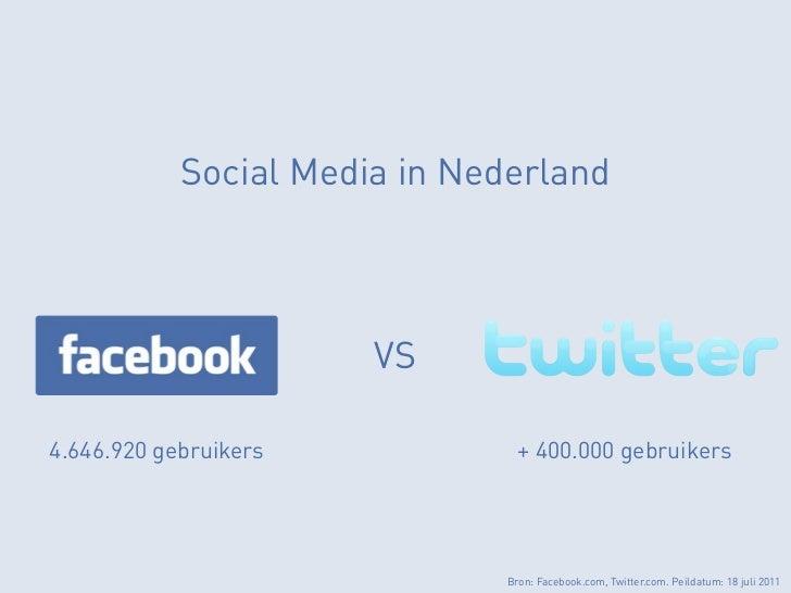 Social Media in Nederland                       VS4.646.920 gebruikers            + 400.000 gebruikers                    ...