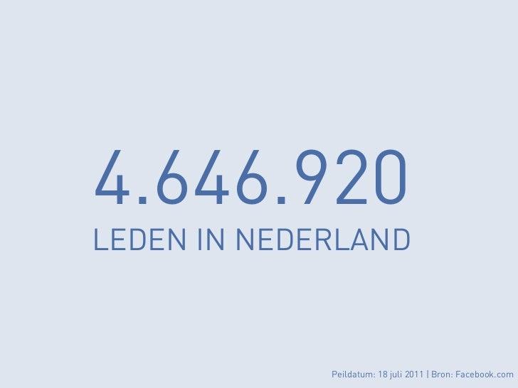 4.646.920LEDEN IN NEDERLAND             Peildatum: 18 juli 2011 | Bron: Facebook.com