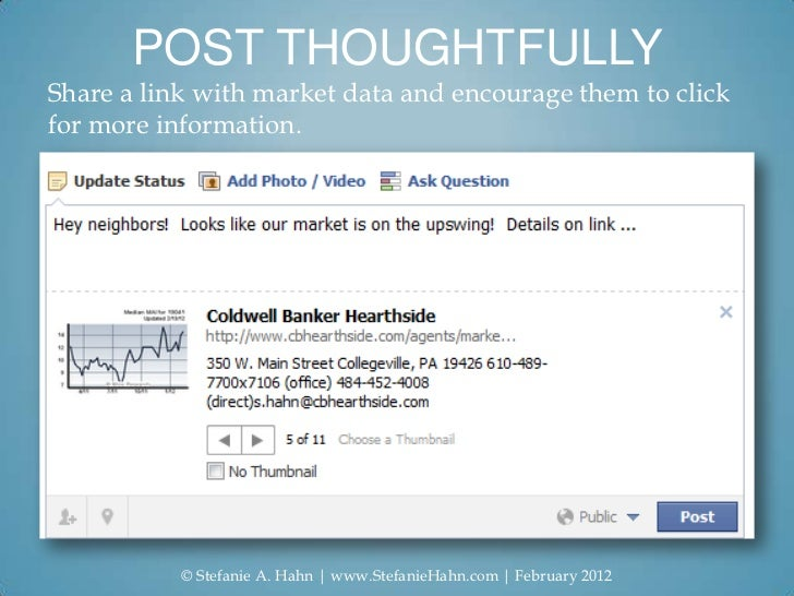 POST THOUGHTFULLYShare a link with market data and encourage them to clickfor more information.           © Stefanie A. Ha...