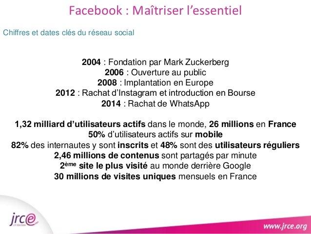 Facebook : Maîtriser l'essentiel  Chiffres et dates clés du réseau social  2004 : Fondation par Mark Zuckerberg  Accompagn...