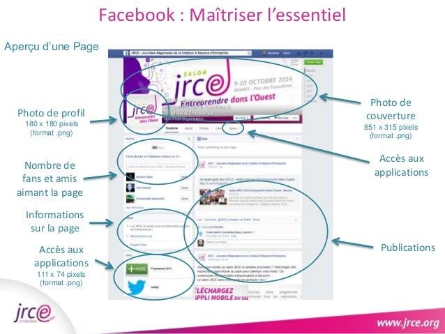 Facebook : Maîtriser l'essentiel  Aperçu d'une Page  Photo de profil  180 x 180 pixels  (format .png)  Accompagnement et a...