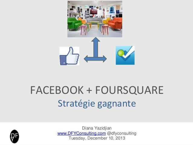 FACEBOOK +FOURSQUARE Stratégie gagnante Diana Yazidjian www.DFYConsulting.com @diana_fyaz Tuesday, December 10, 2013