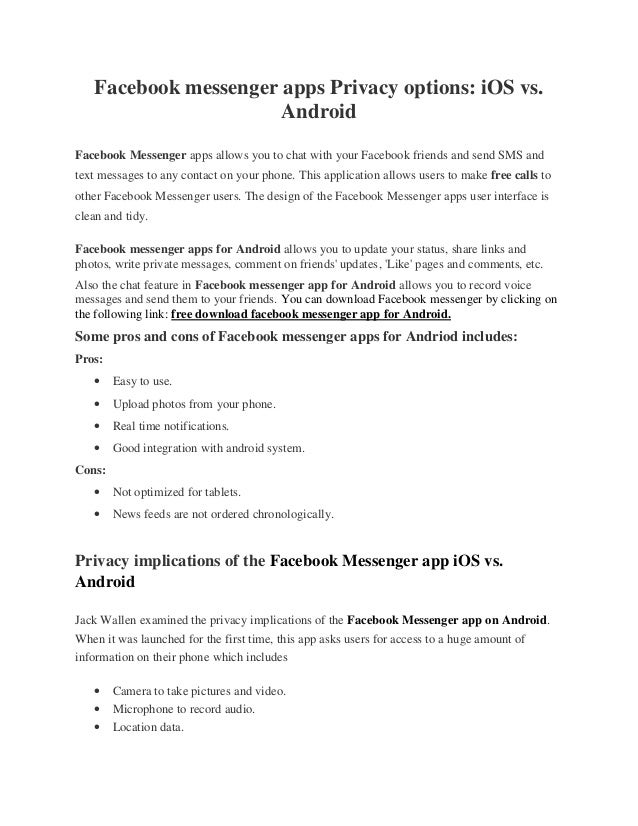 Facebook messenger apps Privacy options: iOS vs  Android