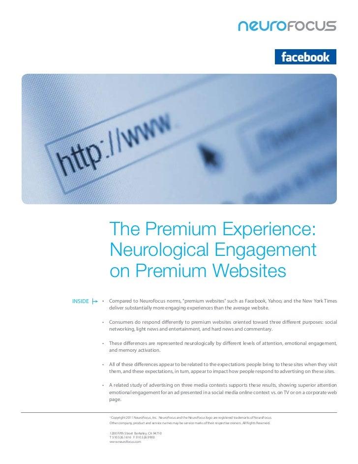 The Premium Experience:            Neurological Engagement            on Premium WebsitesINSIDE   • ComparedtoNeuroFocu...
