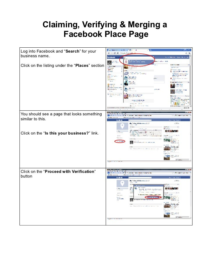 """Claiming, Verifying & Merging a                 Facebook Place PageLog into Facebook and """"Search"""" for yourbusiness name.Cl..."""