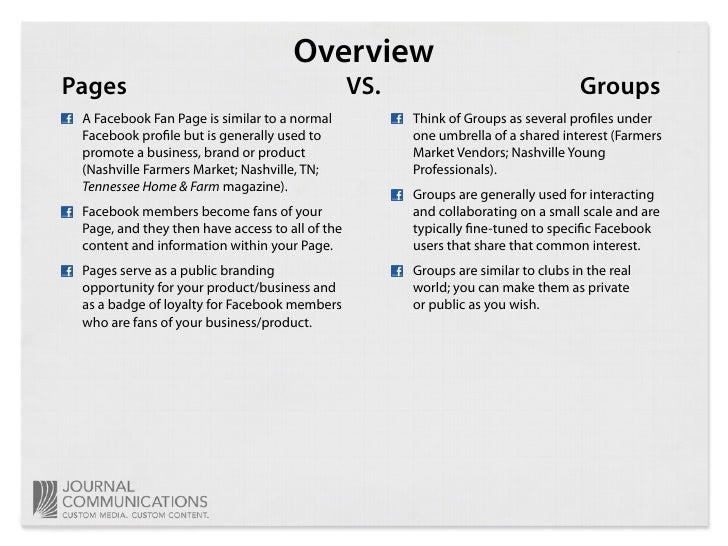 Overview Pages                                            VS.                                Groups  A Facebook Fan Page i...