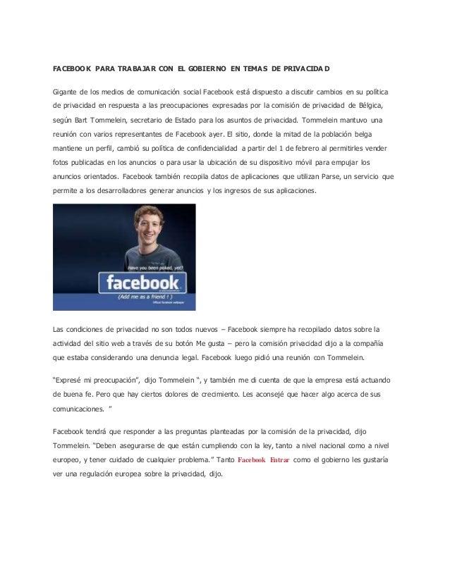 Facebook para trabajar con el gobierno en temas de privacidad - Trabajar en facebook espana ...
