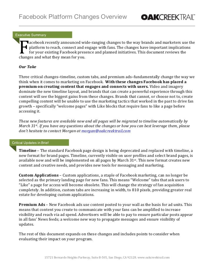 Facebook Platform Changes Overview                                            Executive Summary                 ...