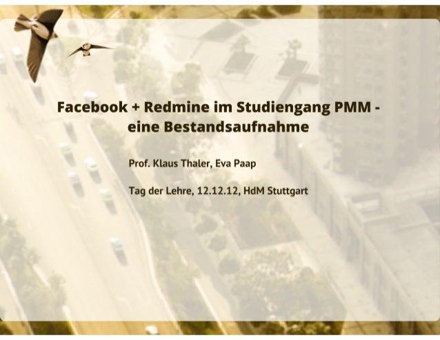 Facebook und Redmine in der Lehre - eine Bestandsaufnahme