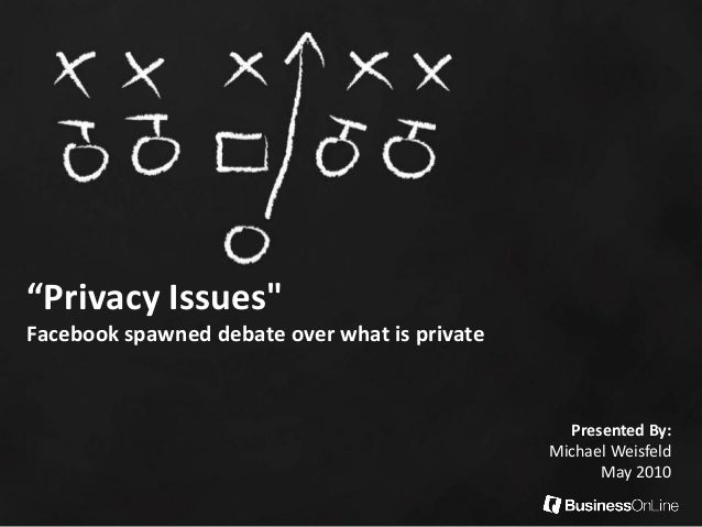 """Privacy Issues"" Facebook spawned debate over what is private Presented By: Michael Weisfeld May 2010"