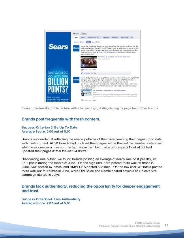 ! © 2010 Altimeter Group Attribution-Noncommercial-Share Alike 3.0 United States ! ! 14 Sears optimizes its profile pictur...