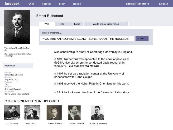 facebook Ernest Rutherford Wall Photos Flair Boxes Ernest Rutherford Logout View photos of Ernest Rutherford (5) Have a sé...