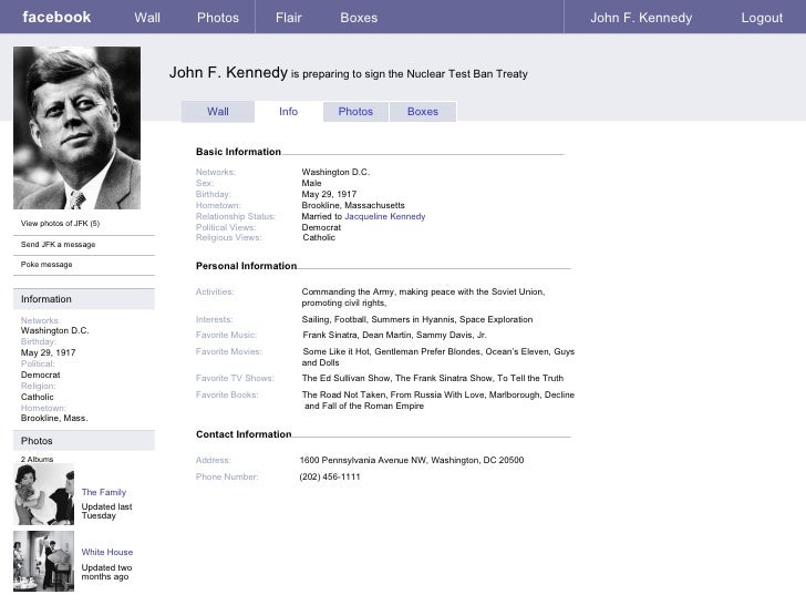 facebook templates for projects - facebook sample page jfk