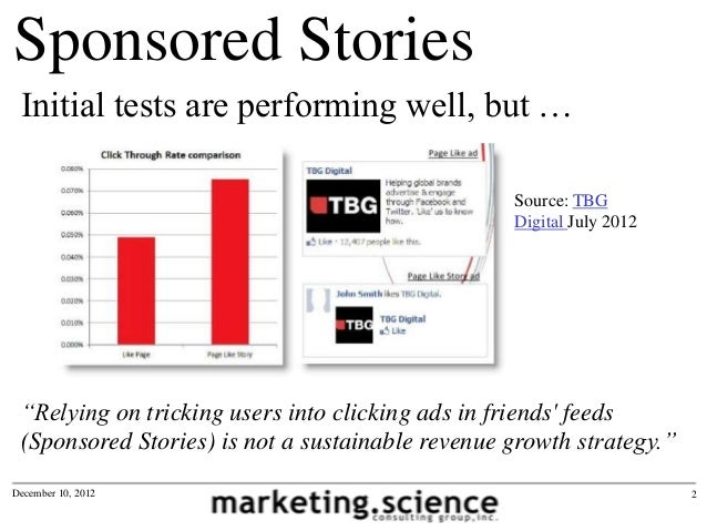 Facebook Sponsored Stories CTR and CPC by Augustine Fou Slide 2