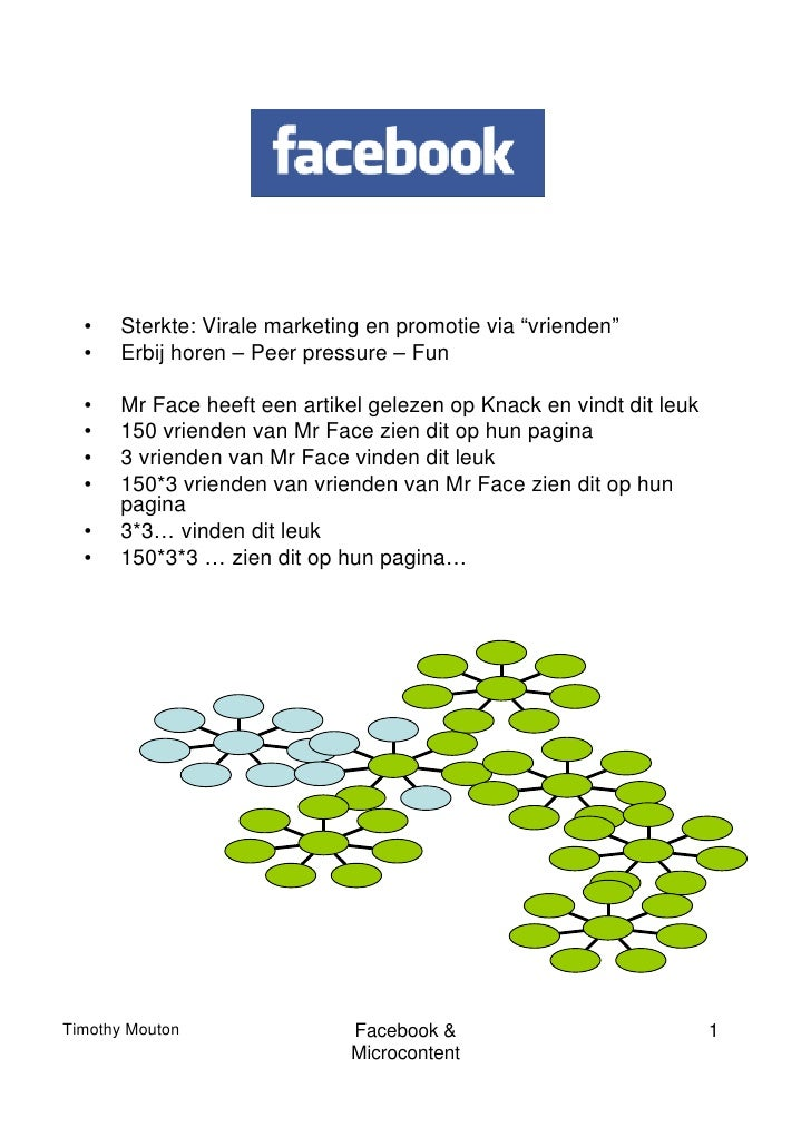 """•   Sterkte: Virale marketing en promotie via """"vrienden""""  •   Erbij horen – Peer pressure – Fun  •   Mr Face heeft een art..."""