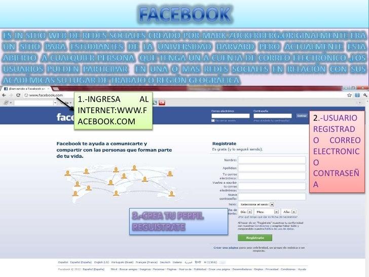 1.-INGRESA  ALINTERNET:WWW.FACEBOOK.COM      2.-USUARIO                 REGISTRAD                 O CORREO                ...