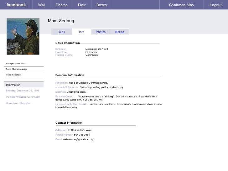 Facebook template cm – Template for Personal Information