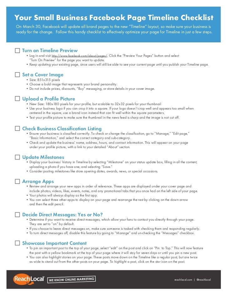 facebook timeline checklist for business