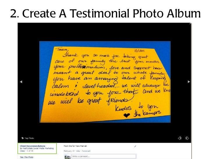 2. Create A Testimonial Photo Album